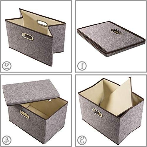 Prandom Large Collapsible Storage Bins Fabric Foldable Organizer with Cover for Bedroom Closet