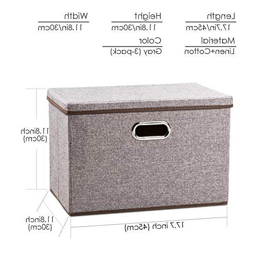 Prandom Bins Fabric Foldable Boxes Organizer Baskets Cube with Cover Bedroom Closet