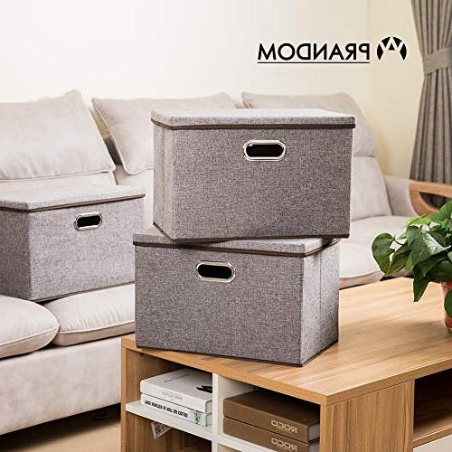 Prandom Bins Fabric Foldable Boxes Organizer Containers with Cover Bedroom