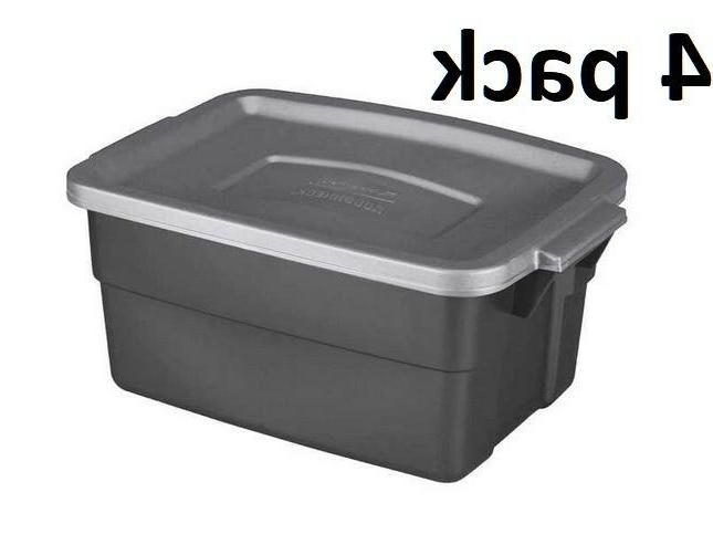 Rubbermaid Commercial Roughneck Storage Box,  3 Gallon 4 pac