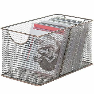 MyGift Copper-Tone Metal Mesh Desktop Media Storage Box