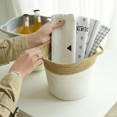 Cotton Rope Woven Basket Chest Box Organizer for Closet