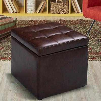 """116"""" Cube Ottoman Pouffe Storage Box Lounge Seat Footstools"""