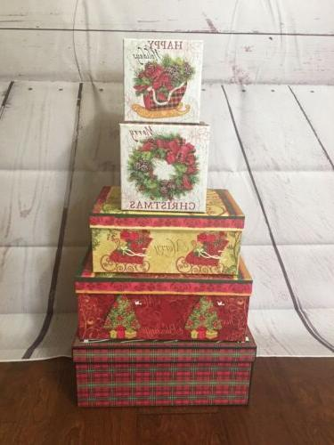 decorative 5 pc christmas cardboard gift storage