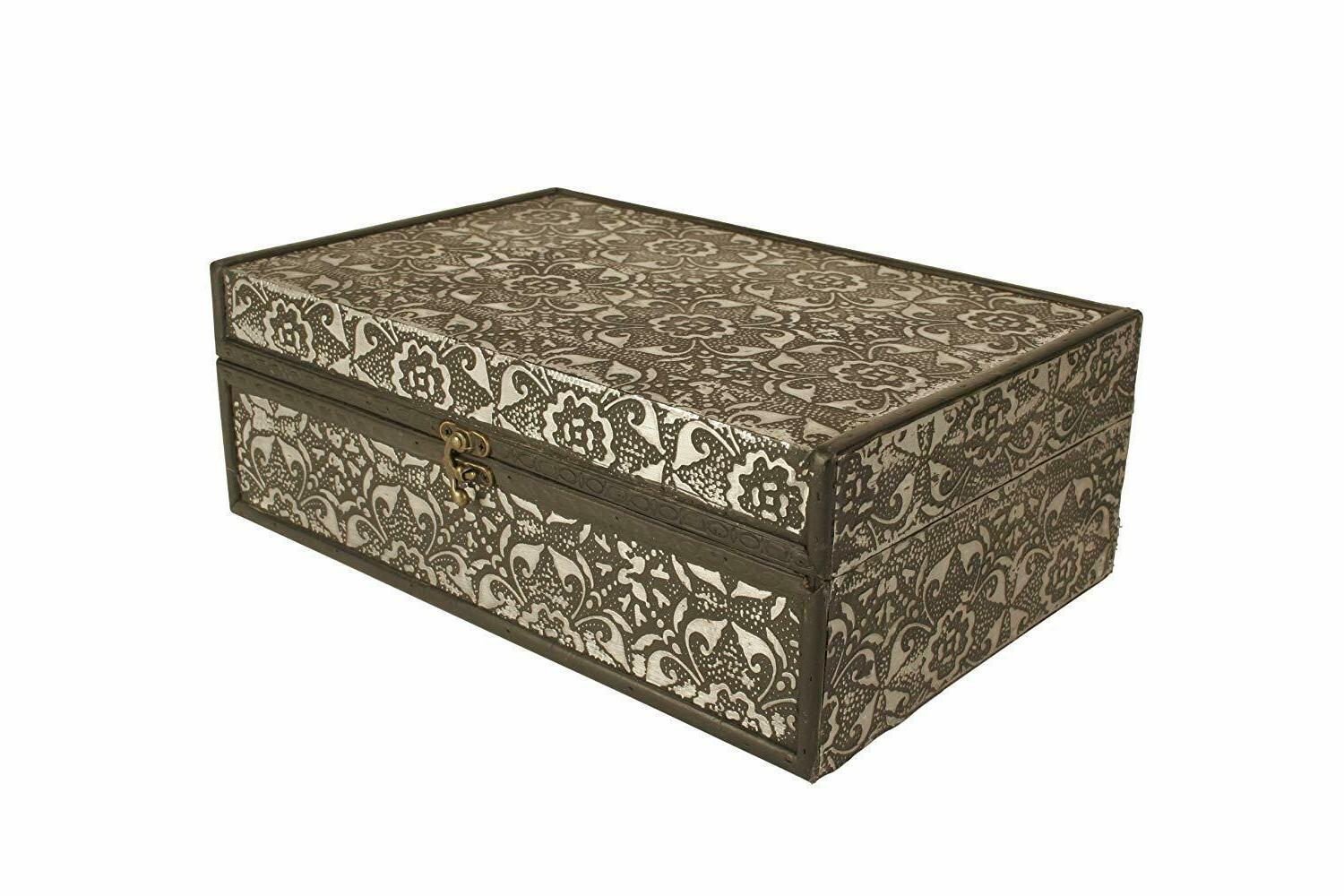 decorative boxes silver metal wood 13 storage