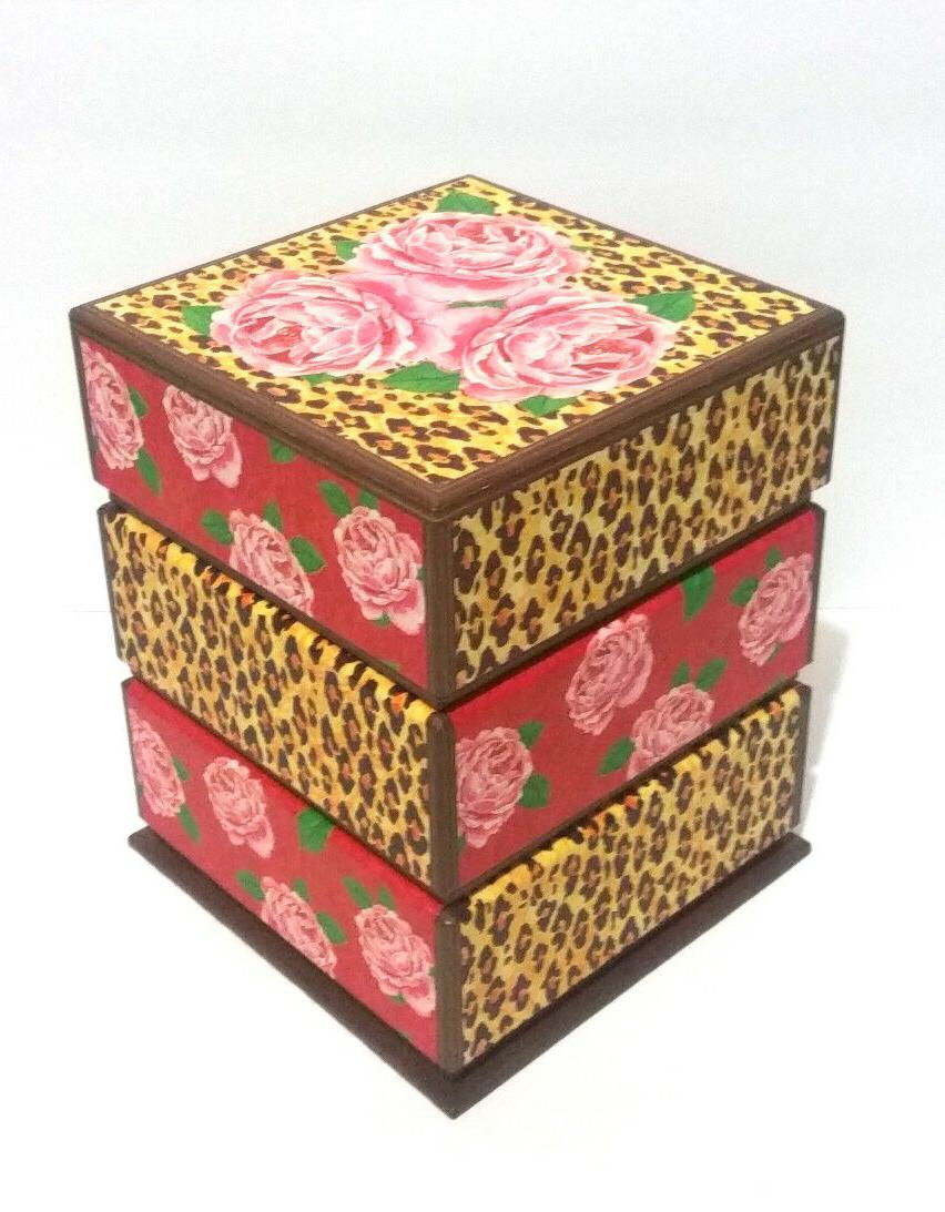 decorative cheetah and roses print unique storage