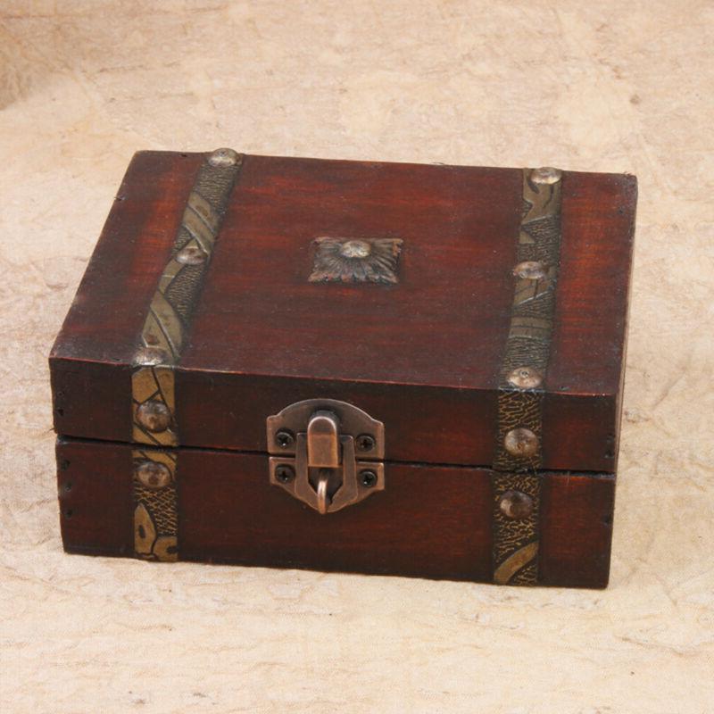 Handmade Vintage Wooden Treasure Case Home Decor Trinket Jew
