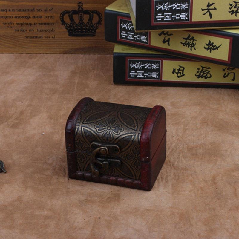 Decorative Vintage Small Wooden Storage Jewelry Box Treasure
