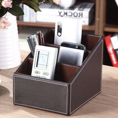 Faux Leather Phone TV Remote Control Storage Box Home Desk O