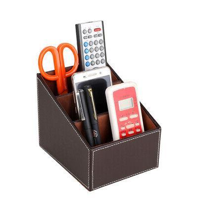 Desk Remote Control Holder Storage Box Leather