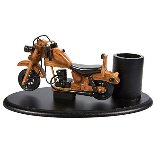 Juvale Stationery Storage Motorbike Pen Holder - Decorative Wooden Motorcycle Design Pen Pencil Holder, 10 x x inches
