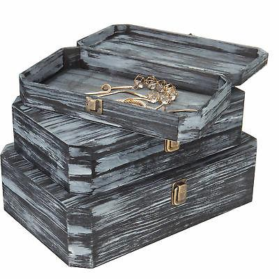 distressed charcoal gray wood nesting chests set
