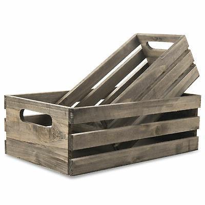 Distressed Wood Storage Crates w/ Handles, Set