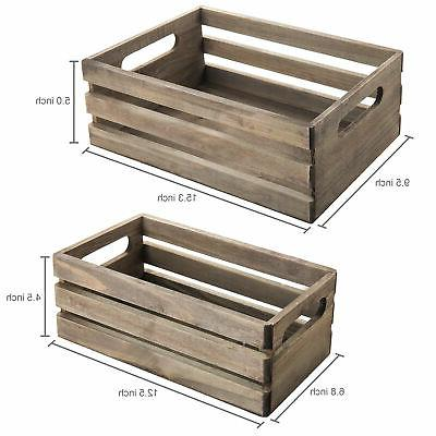 Distressed Wood Storage Crates w/ Set Gray