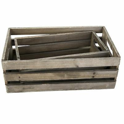 Distressed Wood Nesting Boxes, Storage w/ Set of 2, Gray