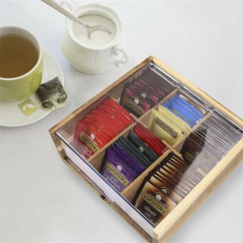 Divided Tea Organizer Sugar Packets Decor Grids
