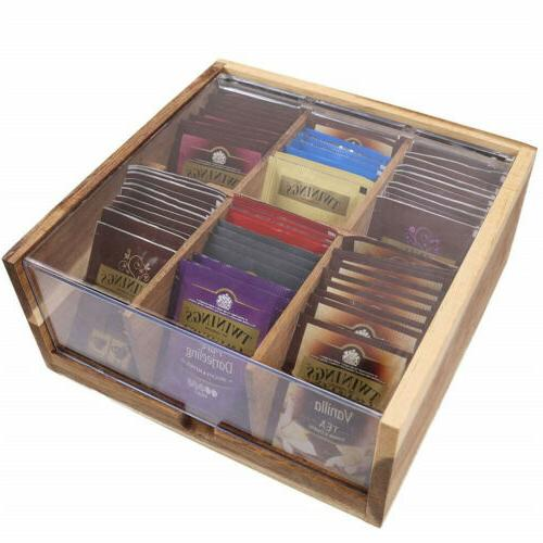 divided wood tea box organizer sugar packets