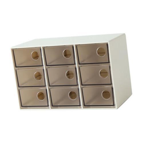 Drawer Storage Box Organizer Office Brown 9 Grid