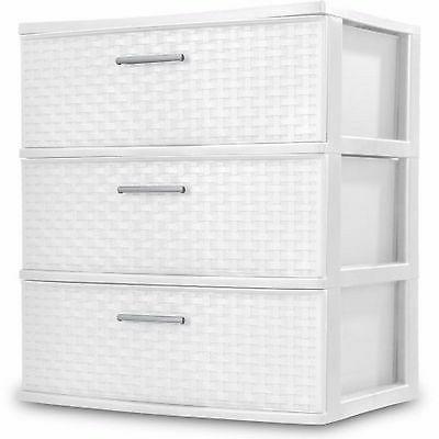 Sterilite Storage Clothes Organizer 3 Drawer Box White