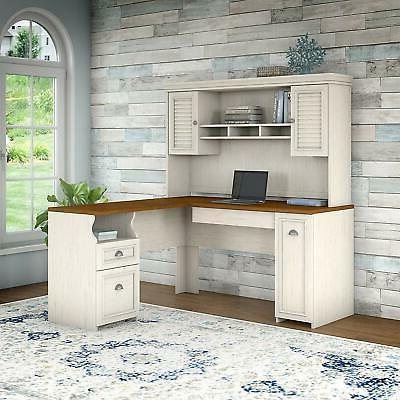 Durable Desk Hutch Antique White 60W Drawer
