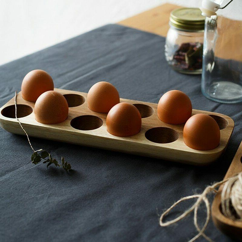 Egg Box Wooden Home Organizer Row Holder Kitchen Decor