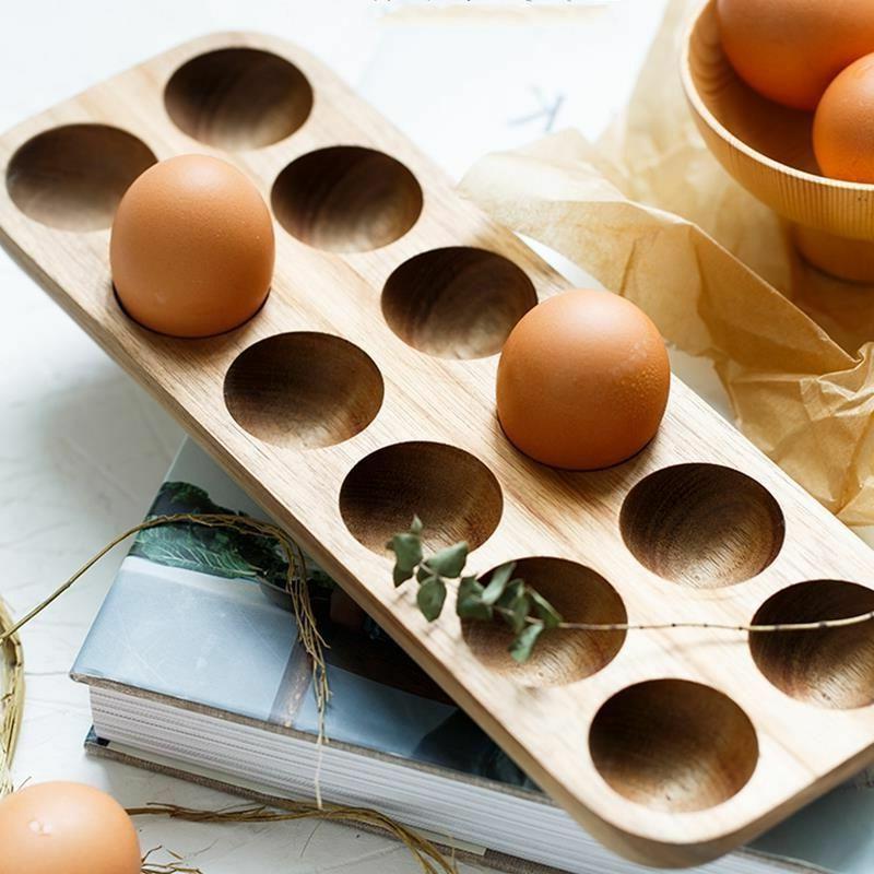 Egg Storage Box Wooden Home Organizer Rack Row Holder Kitche