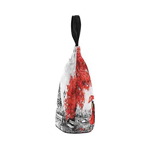 InterestPrint Painting Cylinder Bag Tote Shopping Handbag, Paris Large Lunchbox