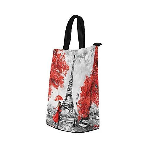 InterestPrint Eiffel Tower Bag Tote Paris Tree Large Lunchbox Bag