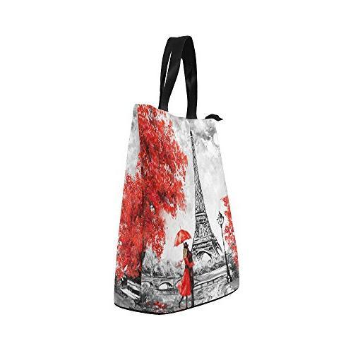 InterestPrint Eiffel Painting Bag Tote Handbag, Paris Large Lunchbox Grocery