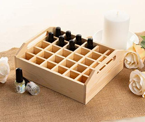 Essential Oil Wood Oil Rack, Oil Case, Essential Oil Storage Tray, Plant, Polish, Holds Bottles, 8.5 x x Inches