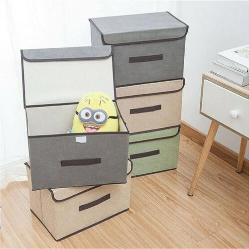 Fabric Cube Storage Bin Organizer Lid Foldable