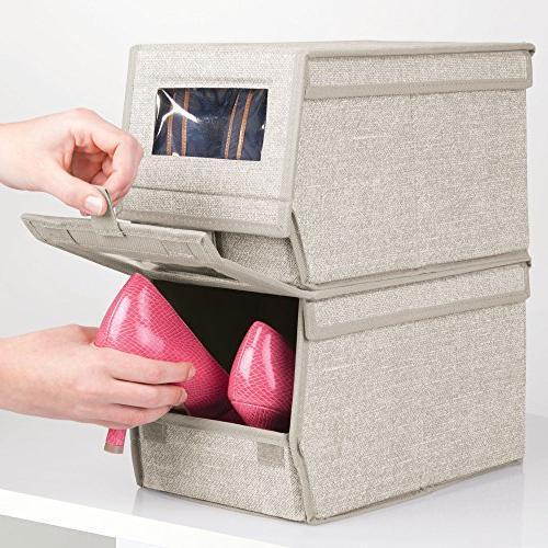 mDesign Home Box Bin Holder Men's Women's Dress Shoes, Boots, Pumps, Modern Organizer Solution - 2 - Linen/Tan
