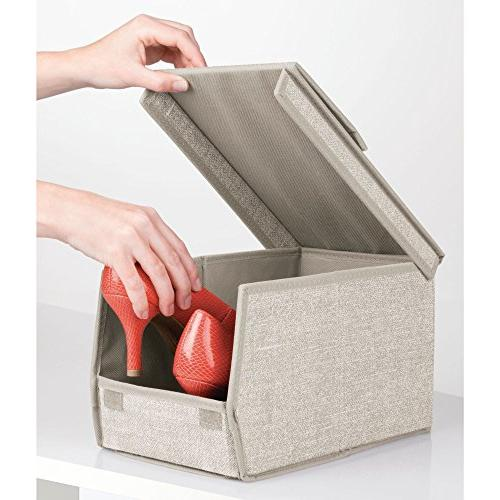 mDesign Home Storage Box Window, Hinged Lid Holder Women's Dress Shoes, Boots, Pumps, Modern Organizer Solution - Small, - Linen/Tan