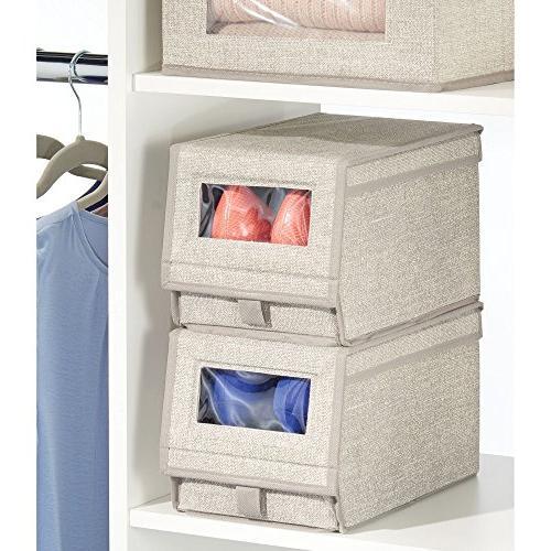 mDesign Fabric Box Window, Holder for Women's Pumps, Flats - Modern Organizer Solution - 2 - Linen/Tan