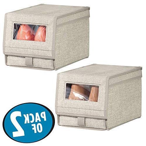 mDesign Fabric Box - Window, Hinged Holder Women's Shoes, Boots, Modern Closet Organizer Solution - - Linen/Tan