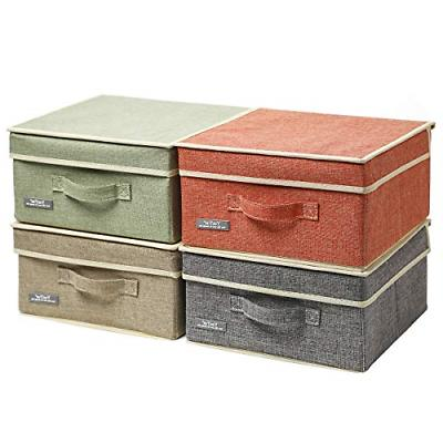 Fabric Storage Box With Lid Collapsible 4 Color Set 12.4L x