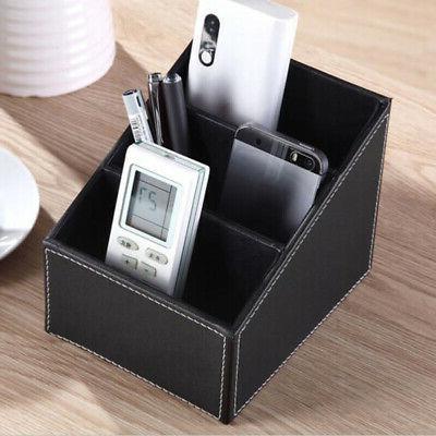 Desk Remote Holder Storage Box Leather Phone TV