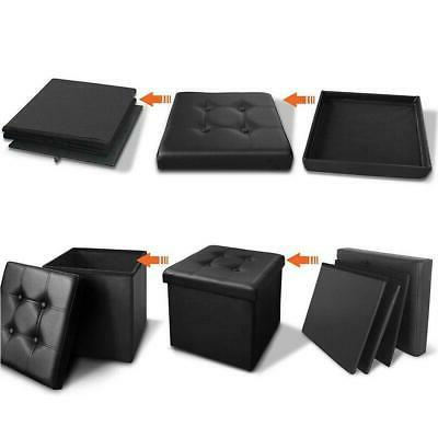 Faux Storage Ottoman Square Footstool Footrest