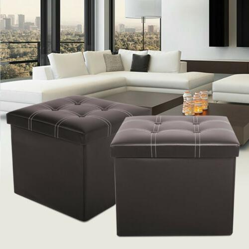 Faux Leather Storage Ottoman Square Footstool Folding Footrest