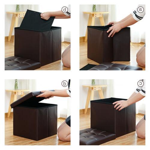 Faux Ottoman Square Folding Box Seat Brown