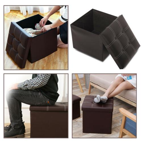 Faux Leather Storage Ottoman Square Footstool Footrest Box