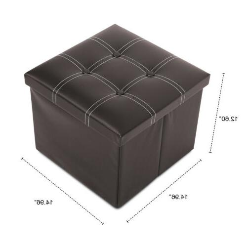 Faux Leather Storage Square Folding Footrest Box Seat Brown