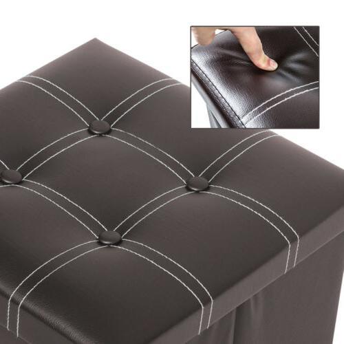 Faux Leather Storage Box Seat Brown