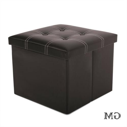 faux leather storage ottoman square footstool folding