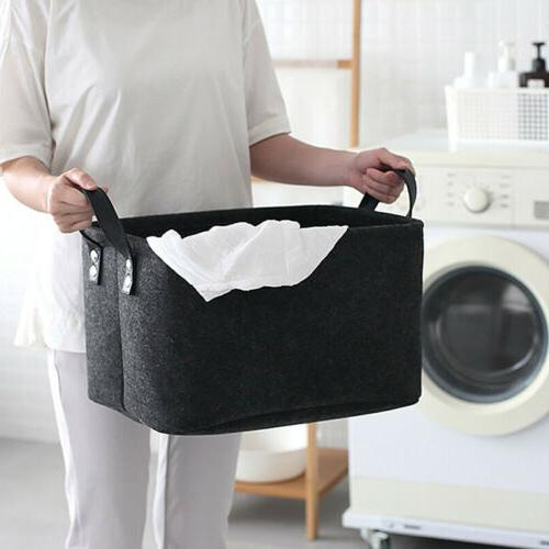 Felt Storage Box Basket Closet Toy Book Storing Laundry Bag