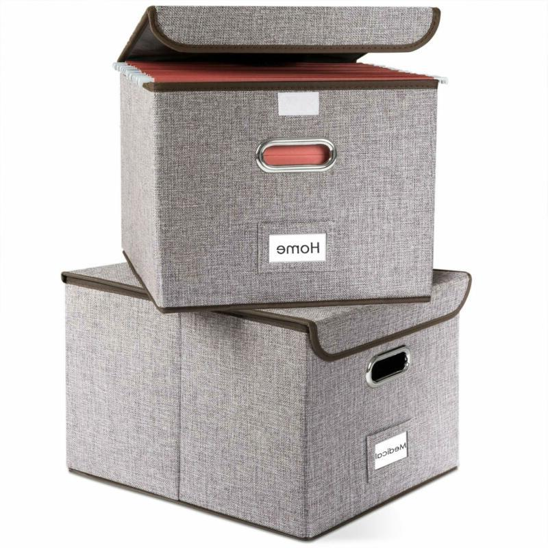 file boxes set of 2 collapsible decorative
