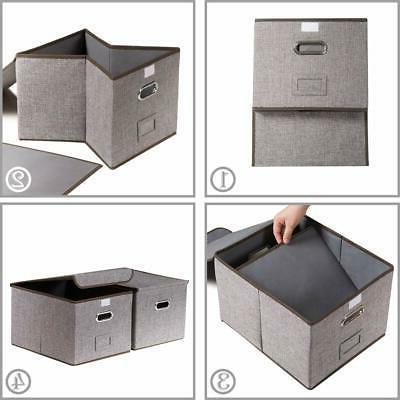 Prandom File Boxes Set of Collapsible Linen Storage