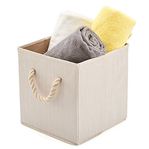 Set of EZOWare Foldable Fabric Bins Cotton Handle, Collapsible Basket Box Organizer for Closet, and More