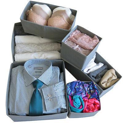 Evelots Foldable Drawer Storage Box-Closet-Dresser-Divider-Organizer