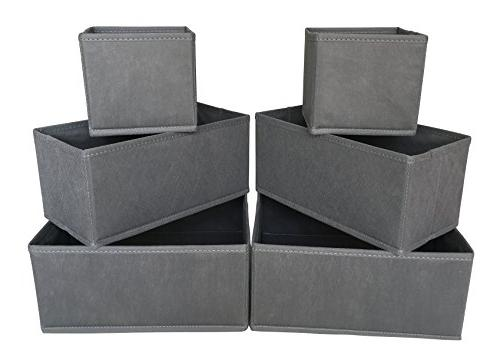 Sodynee Cloth Box Dresser Organizer Cube Containers with for Underwear, Bras, Ties, Grey